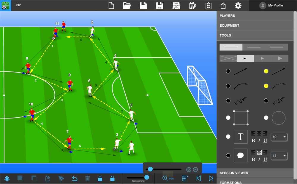 Tactics Manager Soccer Coaching Software - Create your own Practcies
