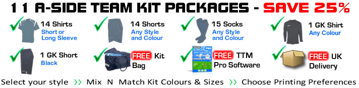 11 a-side team kit packages